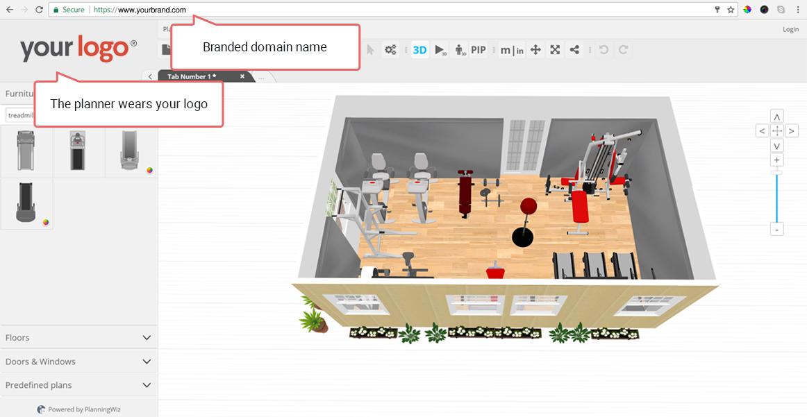 floor planner arrangement of a fitness room